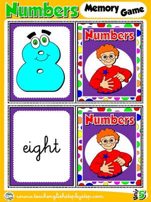 Numbers - Memory Game Cards (Picture - Word)