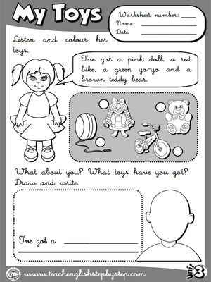 My Toys - Worksheet 3 (B&W version)