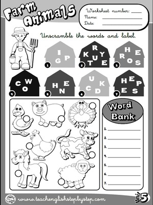 Farm  Animals - Worksheet 1 (B&W version)