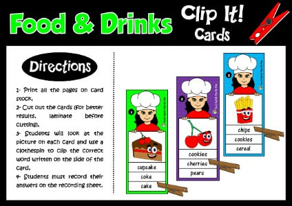 FOOD - CLIP IT! CARDS - CLOTHESPIN CARDS - CLIP CARDS