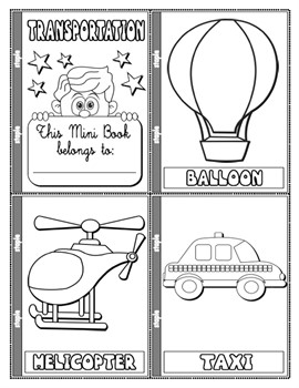 #MEANS OF TRANSPORT COLOURING MINI BOOK (13 PAGES)