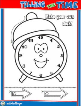 TELLING THE TIME CRAFTS CLOCK FOR BOYS (B&W)