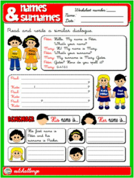 NAMES AND SURNAMES WORKSHEET
