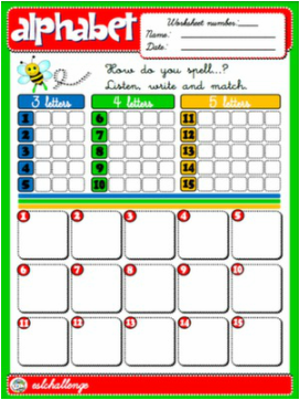 ALPHABET SPELLING WORKSHEET