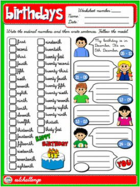 BIRTHDAYS AND ORDINAL NUMBERS WORKSHEET