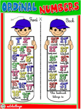 ORDINAL NUMBERS MARKBOOK #