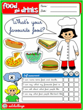 FOOD AND DRINKS WORKSHEET #