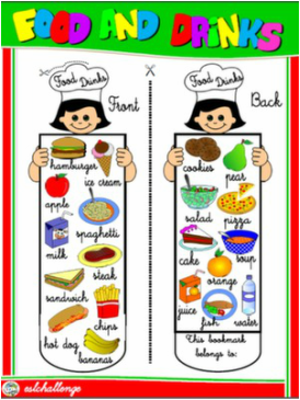 FOOD AND DRINKS BOOKMARK #