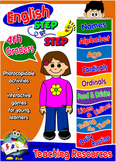 This pack has been created for   fourth graders.  It contains   five units   covering the following themes:  names and alphabet, age and birthday (cardinal numbers, ordinal numbers, months), food and drinks - likes and dislikes,  telling the time and daily routine.  All units include 1 unit cover (with a self evaluation chart, allowing students to assess their knowledge of the key functions taught at the end of each unit) worksheets (some of them available in black and white to allow students to colour), flashcards / memory games, board games, posters, bookmarks, dominoes, PowerPoint presentations + games and picture dictionaries.