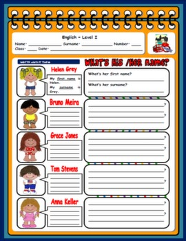 NAMES AND SURNAMES WORKSHEET #