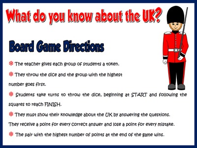The United Kingdom - Board Game (directions)