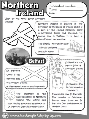 Northern Ireland - Worksheet (B&W version)