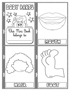 #PARTS OF THE BODY COLOURING MINI BOOK (13 PAGES)
