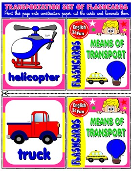MEANS OF TRANSPORT FLASHCARDS (12 FLASHCARDS)#