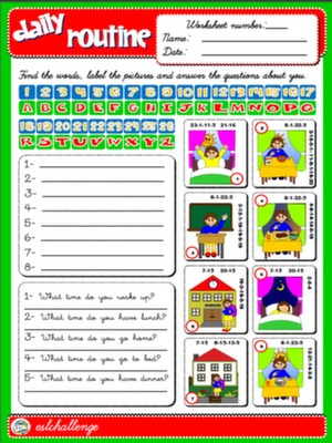 DAILY ROUTINE DAILY ROUTINE WORKSHEET#