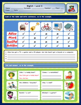 VERB HAVE GOT WORKSHEET#