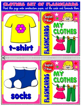 #CLOTHES FLASHCARDS (23 FLASHCARDS)