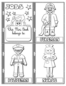 JOBS AND OCCUPATIONS COLOURING MINI BOOK (19 PAGES)