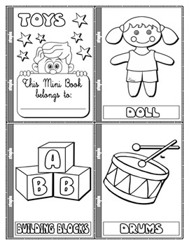 #TOYS COLOURING MINI BOOK (16 PAGES)