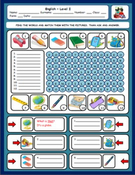 SCHOOL OBJECTS WORKSHEET#