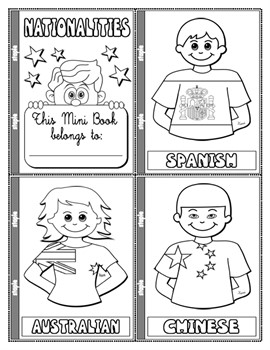 NATIONALITIES COLOURING MINI BOOK (17 PAGES)
