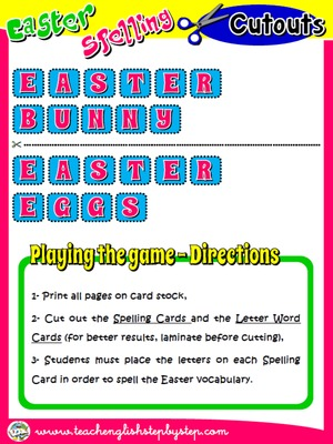 EASTER SPELLING GAME (LETTER WORD CARDS + DIRECTIONS)