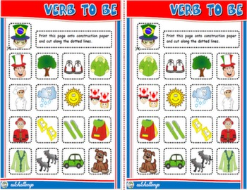 VERB TO BE BOARD GAME VOCABULARY CARDS