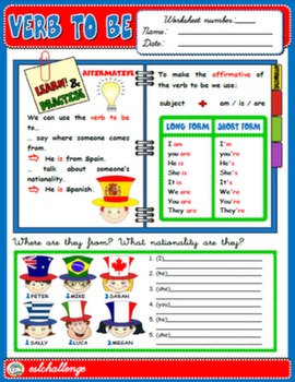 VERB TO BE - STUDY WORKSHEET (AFFIRMATIVE)