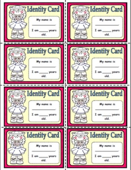IDENTITY CARDS (NAME & AGE) FOR GIRLS#