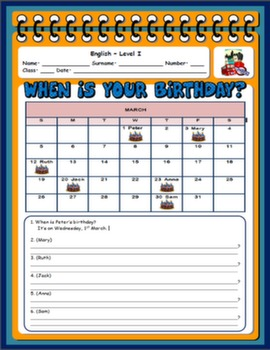 BIRTHDAYS WORKSHEET#