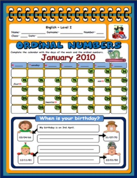 ORDINAL NUMBERS WORKSHEET#