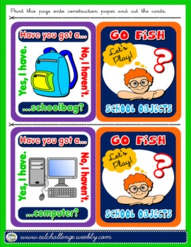 SCHOOL OBJECTS + HAVE GOT GO FISH! GAME