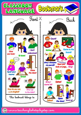 #CLASSROOM LANGUAGE BOOKMARK FOR GIRLS(AVAILABLE IN BLACK & WHITE)