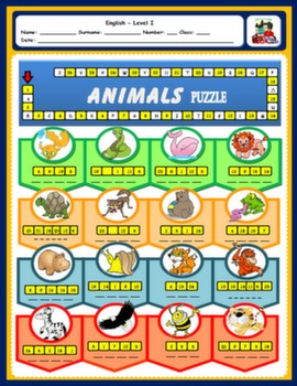 #ANIMALS WORKSHEET