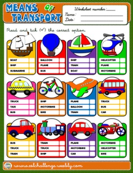 #MEANS OF TRANSPORT WORKSHEET