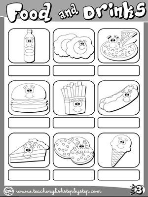 Food and Drinks - Picture Dictionary - page 2 (B&W version)