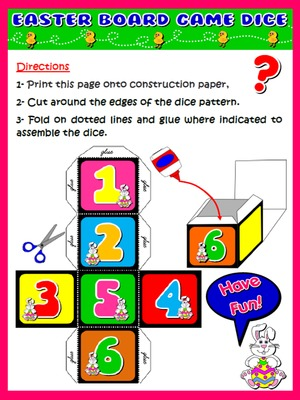 EASTER BOARD GAME - DICE DIRECTIONS