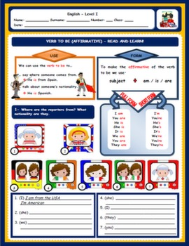 VERB TO BE WORKSHEET#