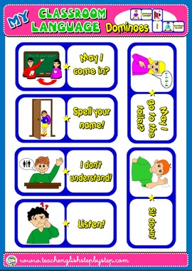CLASSROOM LANGUAGE SET OF DOMINOES (AVAILABLE IN BLACK & WHITE)