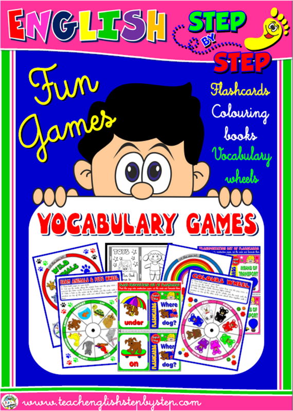 ENGLISH STEP BY STEP - VOCABULARY FUN GAMES (FLASHCARDS, COLOURING MINI BOOKS & VOCABULARY WHEELS)