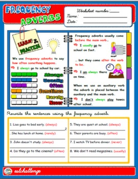 FREQUENCY ADVERBS - STUDY WORKSHEET + EXERCISES
