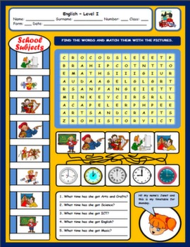 SCHOOL SUBJECTS WORKSHEET#