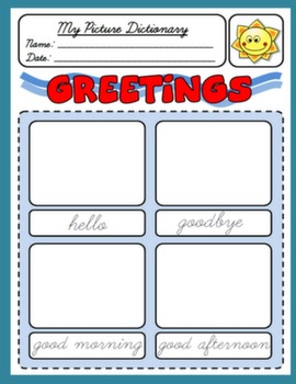 GREETINGS PICTURE DICTIONARY FOR 1ST GRADERS#