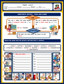 INDEFINITE ARTICLE WORKSHEET#