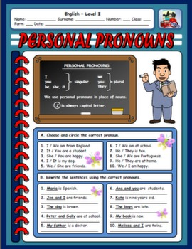 PERSONAL PRONOUNS WORKSHEET#