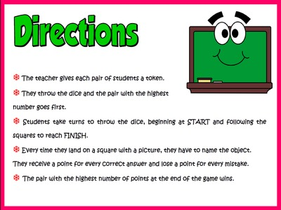 School Objects - Borad Game Directions