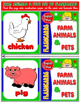 #FARM ANIMALS & PETS FLASHCARDS (14 FLASHCARDS)