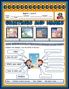 GREETINGS AND NAMES WORKSHEET#