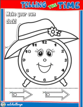 TELLING THE TIME CRAFTS CLOCK FOR GIRLS (B&W)