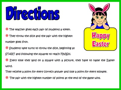 EASTER BOARD GAME - DIRECTIONS